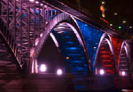 The Peace Bridge by night
