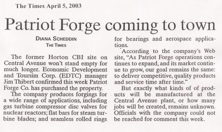 Patriot Forge Article